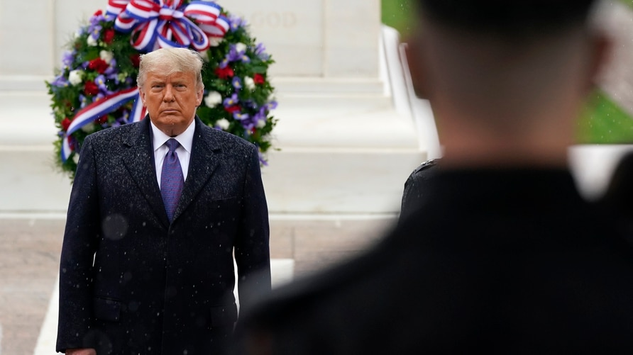President Donald Trump participates in a Veterans Day wreath laying ceremony at the Tomb of the Unknown Soldier at Arlington…