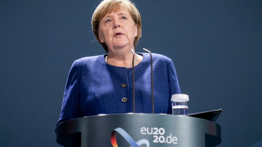 German Chancellor Angela Merkel addresses the media during a statement at the chancellery in Berlin, Germany, Monday, Nov. 9,…