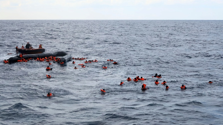 Refugees and migrants are rescued by members of the Spanish NGO Proactiva Open Arms, after leaving Libya trying to reach…