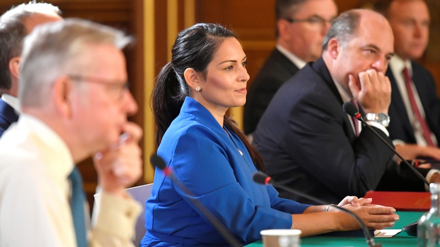 Britain's Home Secretary Priti Patel attends a Cabinet meeting of senior government ministers at the Foreign and Commonwealth…