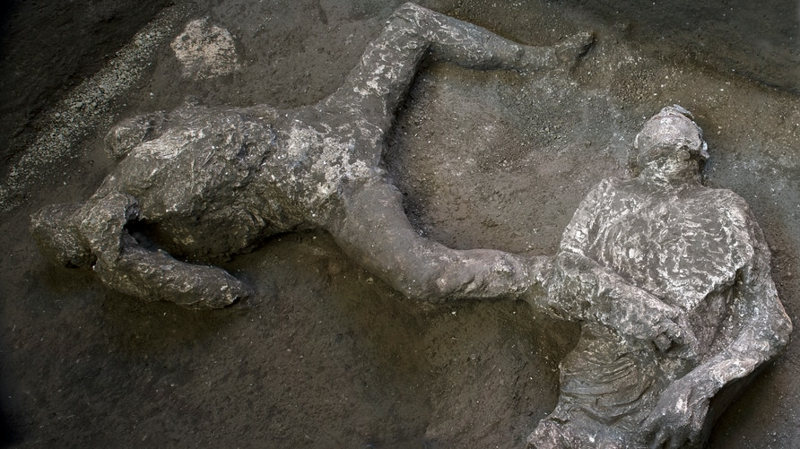 The casts of what are believed to have been a rich man and his male slave fleeing the volcanic eruption of Vesuvius nearly 2…