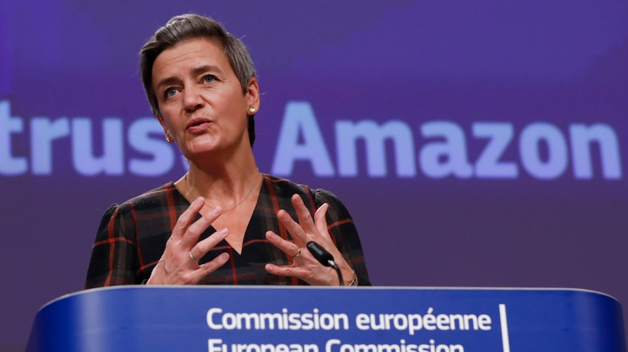 European Executive Vice-President Margrethe Vestager speaks during a press conference regarding an antitrust case with Amazon…