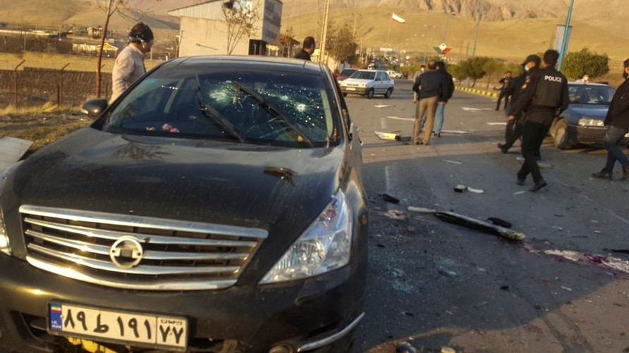This photo released by the semi-official Fars News Agency shows the scene where Mohsen Fakhrizadeh was killed in Absard, a…
