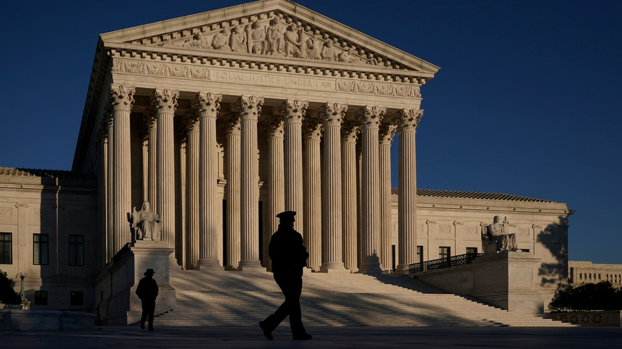 The Supreme Court is seen at sundown on the eve of Election Day, in Washington, Monday, Nov. 2, 2020. President Donald Trump…