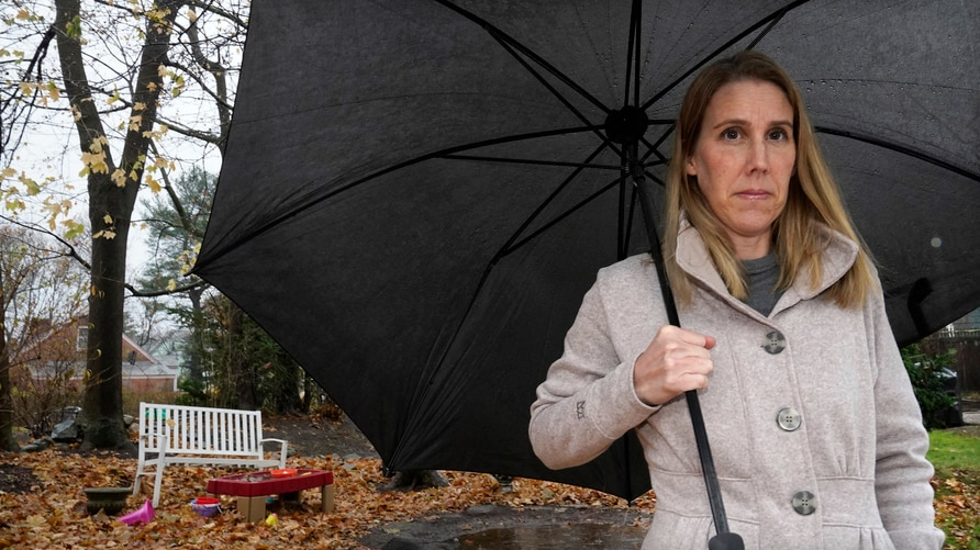 Claire Tillberg, stands for a portrait outside her family's home, Monday, Nov. 23, 2020, in a Boston suburb. The coronavirus…