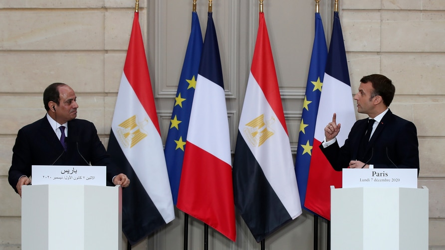 French President Emmanuel Macron, right, and Egyptian President Abdel-Fattah el-Sissi attend a joint press conference at the…