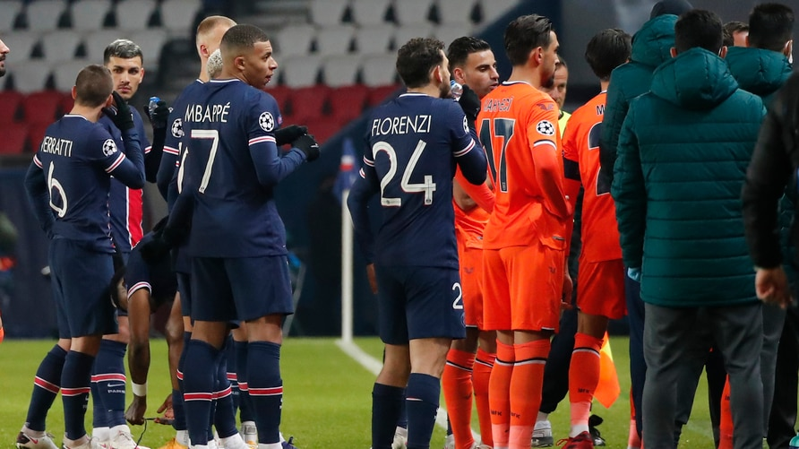 Players of Paris Saint Germain, and Istanbul Basaksehir leave the pitch, during the Champions League group H soccer match…
