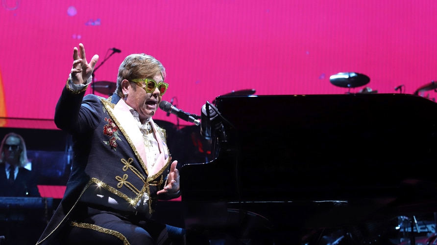 "Elton John performs onstage during his ""Farewell Yellow Brick Road"" final tour at Madison Square Garden on Tuesday, March 5,…"