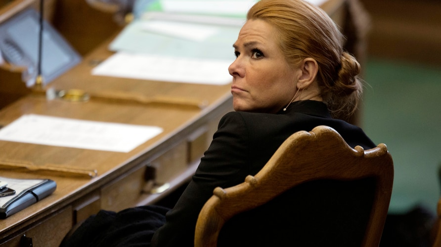 FILE - In this Tuesday Jan. 26, 2016, file photo, Denmark's Minister of Integration from the Liberal Party Inger Stoejberg sits…