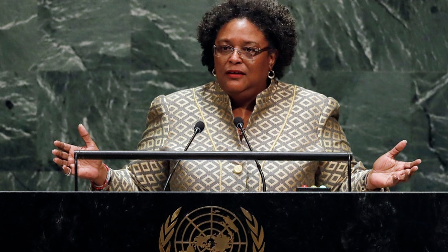 Prime Minister Mia Amor Mottley, of Barbados, addresses the 74th session of the United Nations General Assembly, Friday, Sept…