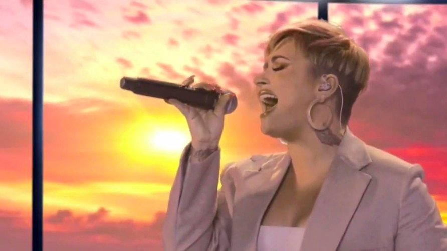 In this image from video, Demi Lovato performs during the Celebrating America event on Wednesday, Jan. 20, 2021, following the…