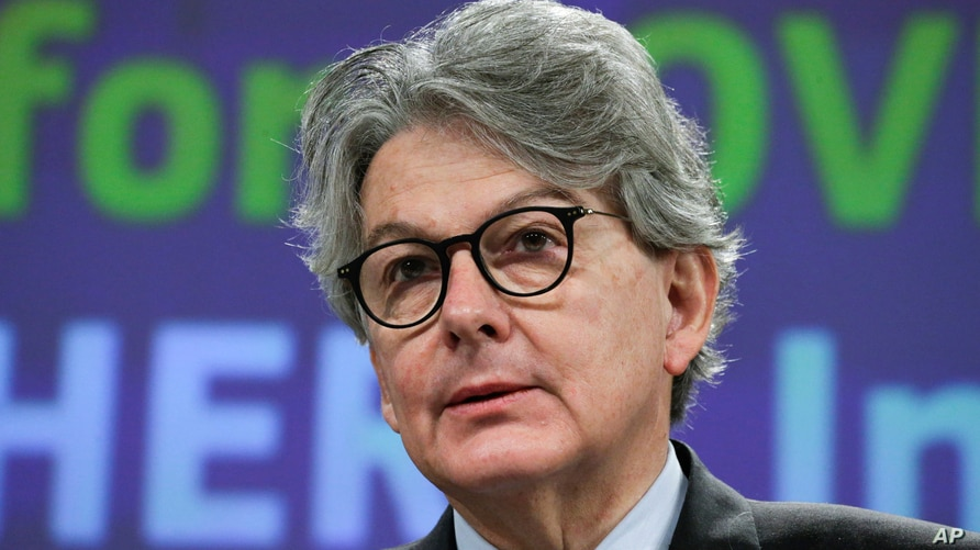 European Commissioner for Internal Market Thierry Breton addresses a media conference at EU headquarters in Brussels, Wednesday…