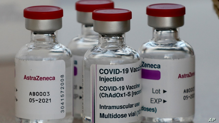 AstraZeneca vaccine is ready to be used at the Wellcome Centre in Ilford, east London, Friday, Feb. 5, 2021. (AP Photo/Frank…