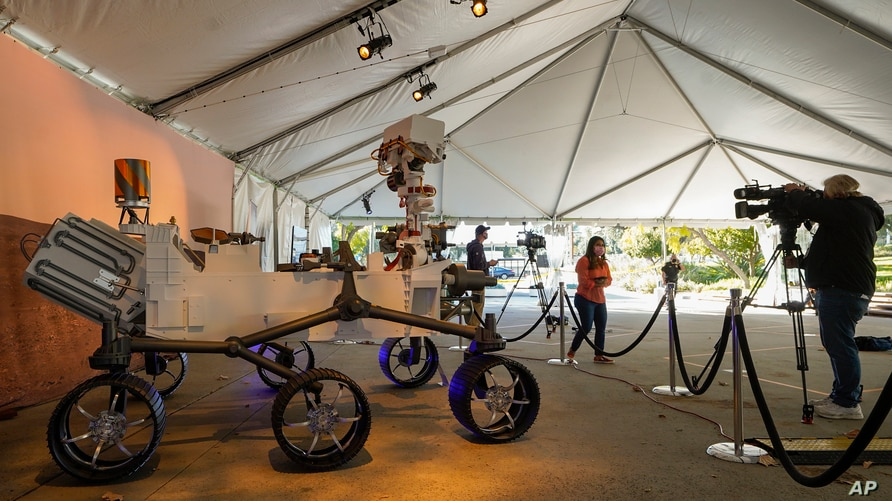 A full-scale model of the Mars 2020 Mission Perseverance Rover is displayed for the media at NASA's Jet Propulsion Laboratory …