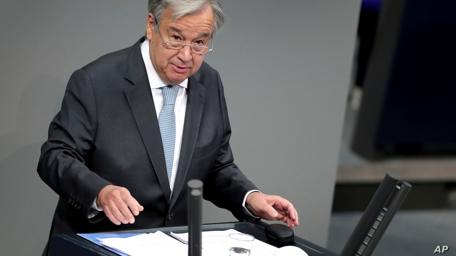 UN Secretary-General Antonio Guterres delivers a speech during a meeting of the German federal parliament, Bundestag, at the…