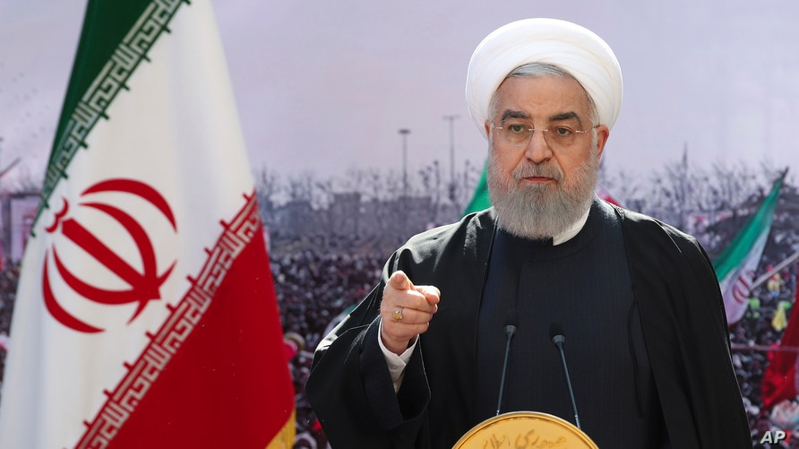In this photo released by the official website of the office of the Iranian Presidency, President Hassan Rouhani addresses the…