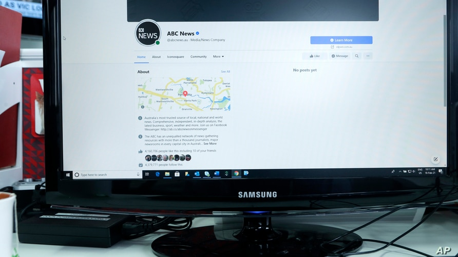 An Australian Broadcasting Corporation page on Facebook is displayed without posts in Sydney, Thursday, Feb. 18, 2021. Facebook…