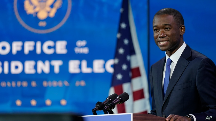 Wally Adeyemo who President-elect Joe Biden nominated to serve as Deputy Secretary of the Treasury speaks at The Queen theater,…