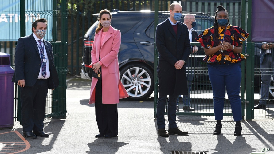 Britain's Prince William and Kate, Duchess of Cambridge arrive for a visit to School21, a secondary schools in east London,…