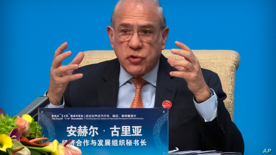 Organization for Economic Cooperation and Development (OECD) Secretary-General Angel Gurria speaks during a press conference…