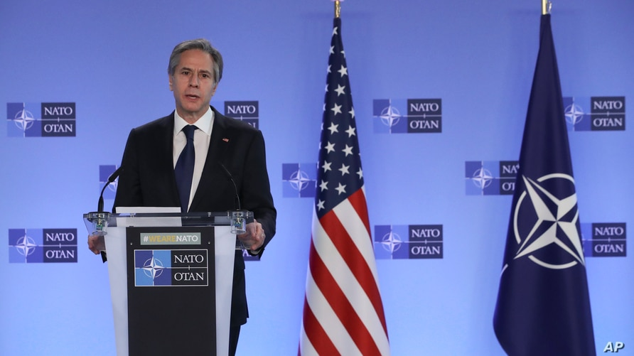 U.S. Secretary of State Antony Blinken delivers remarks with NATO Secretary General Jens Stoltenberg prior to a NATO foreign…
