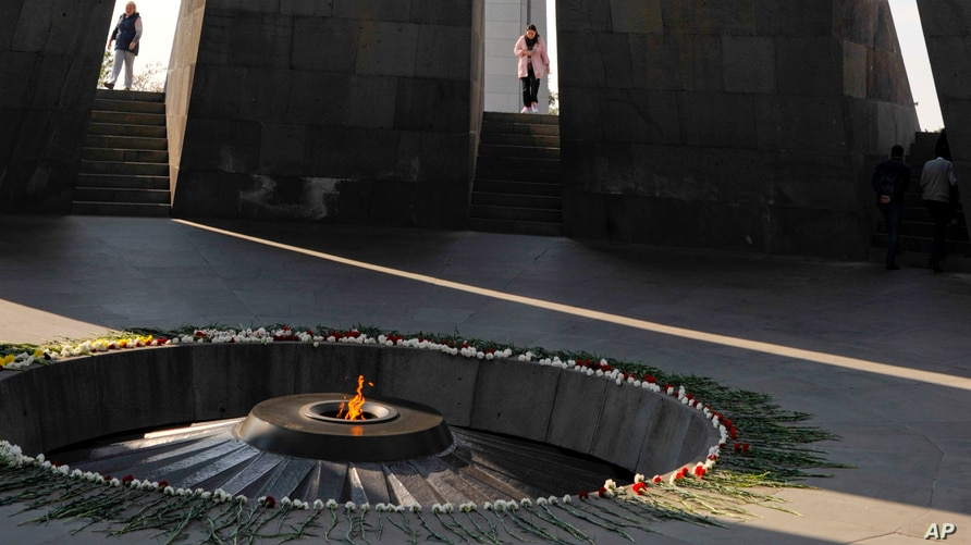 A view inside the Tzitzernakaberd memorial to the victims of mass killings by Ottoman Turks, in the Armenian capital Yerevan,…