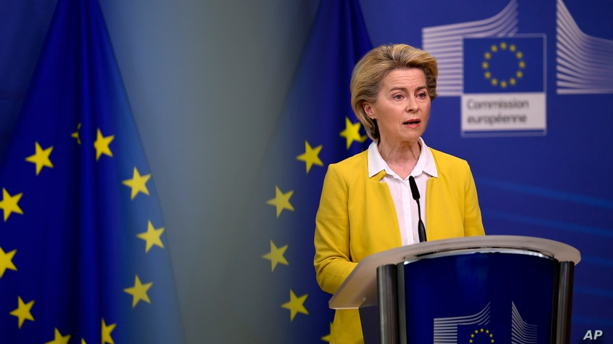 European Commission President Ursula von der Leyen delivers a statement after a meeting of the college of commissioners at EU…