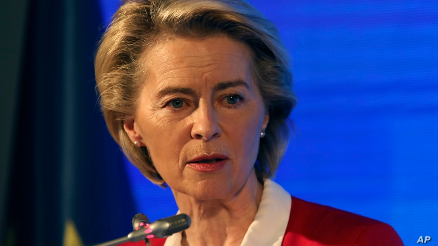European Commission President Ursula von der Leyen speaks during a joint news conference with EU Council President Charles…