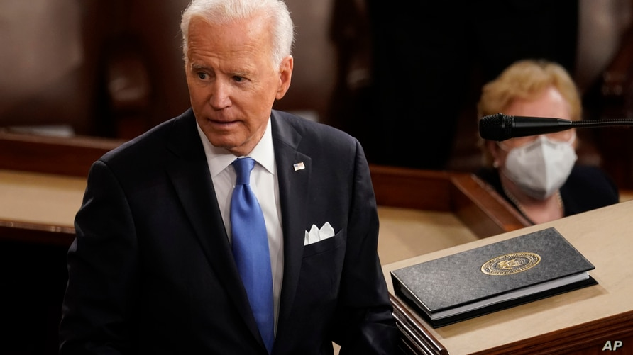 President Joe Biden turns from the podium after speaking to a joint session of Congress Wednesday, April 28, 2021, in the House…