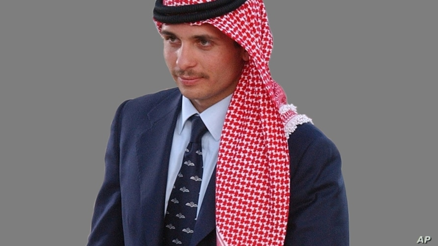Prince Hamzah, as Crown Prince of Jordan, graphic element on gray
