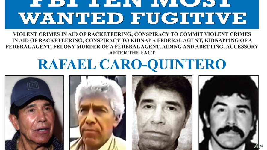 FILE - In this image released by the FBI shows the wanted poster for Rafael Caro Quintero, who tortured and murdered U.S. Drug…