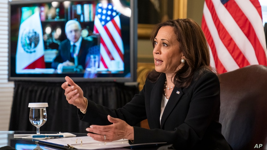 Vice President Kamala Harris speaks during a virtual meeting with Mexican President Andres Manuel Lopez Obrador at the…