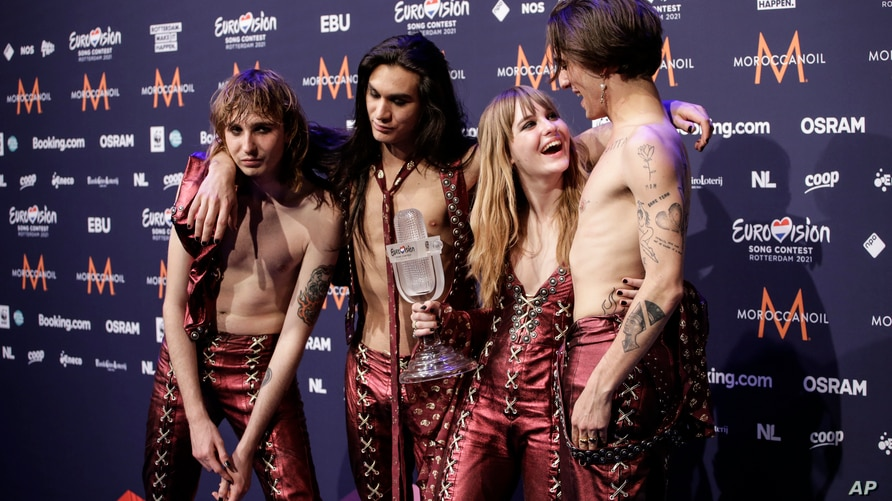 Members of the band Maneskin from Italy Thomas Raggi, from left, Ethan Torchio, Victoria De Angelis and Damiano David pose for…