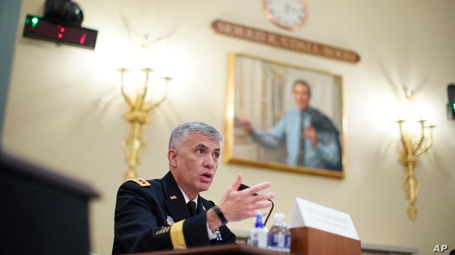 National Security Agency (NSA) Director Gen. Paul Nakasone testifies during a House Intelligence Committee hearing on Capitol…