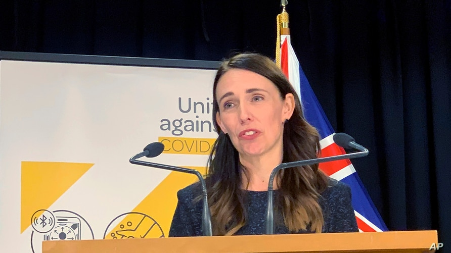 New Zealand's Prime Minister Jacinda Ardern talks to media in Wellington, New Zealand Monday, Feb. 15, 2021. As people in…