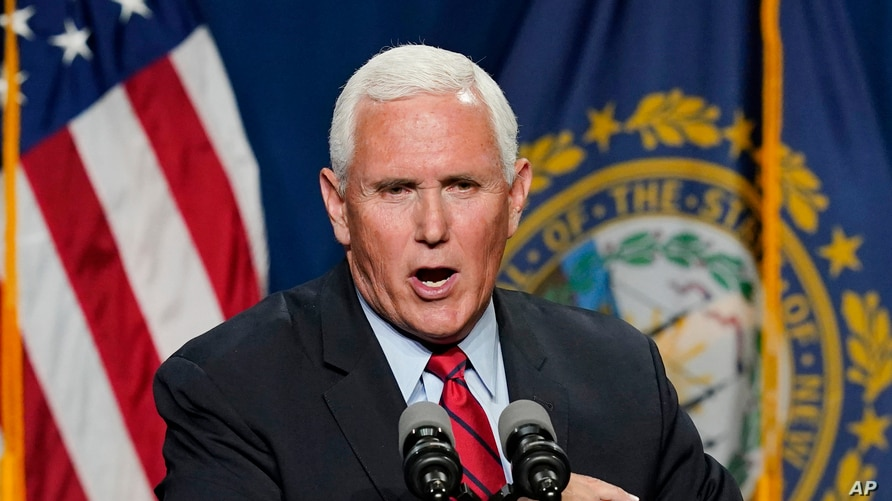Former Vice President Mike Pence speaks at the annual Hillsborough County NH GOP Lincoln-Reagan Dinner, Thursday, June 3, 2021,…
