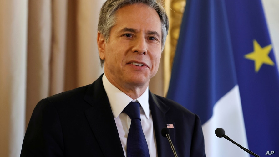 U.S. Secretary of State Antony Blinken talks during a joint news conference with French Foreign Minister Jean-Yves Le Drian, …