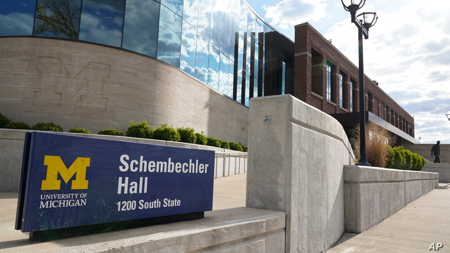 Schembechler Hall on the University of Michigan Campus in Ann Arbor, Mich., is shown May 14, 2021. The building is named after…