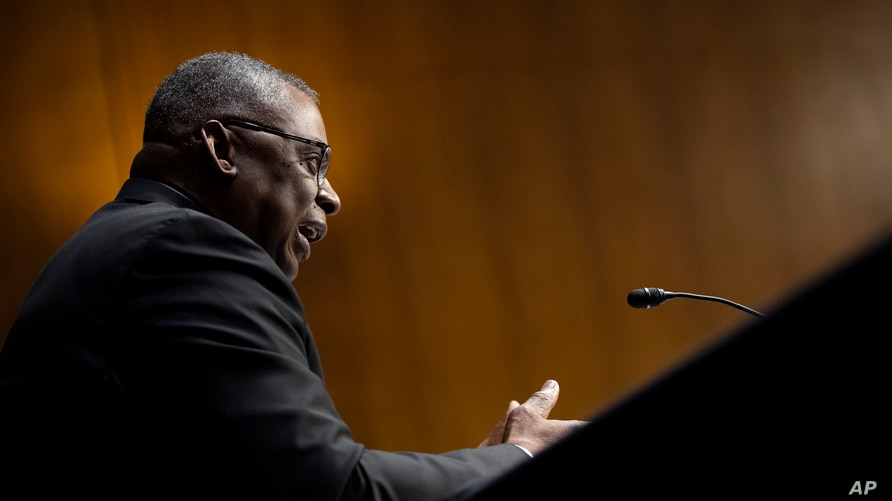 Secretary of Defense Lloyd Austin testifies before a Senate Appropriations Committee hearing, Thursday, June 17, 2021, on…
