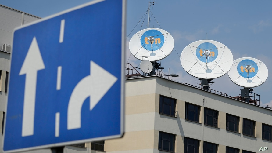 Warsaw headquarters of Poland's TVN broadcaster that is owned by the U.S. company Discovery Inc., in Warsaw, Poland, Thursday,…