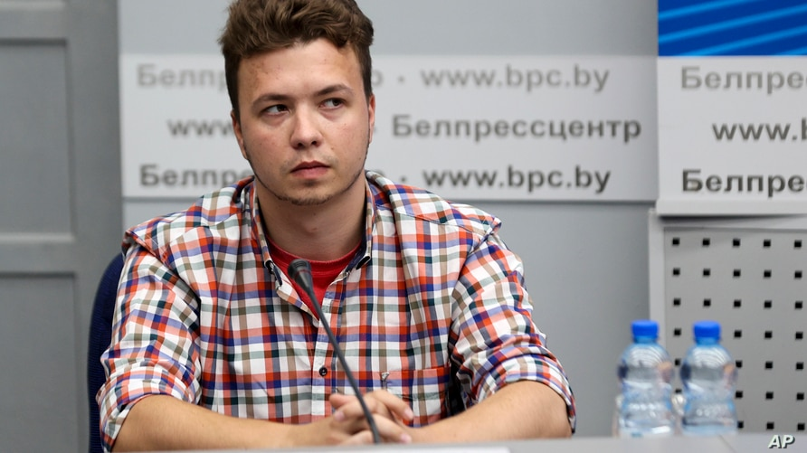 Belarusian dissident journalist Raman Pratasevich attends a news conference at the National Press Center of Ministry of Foreign…