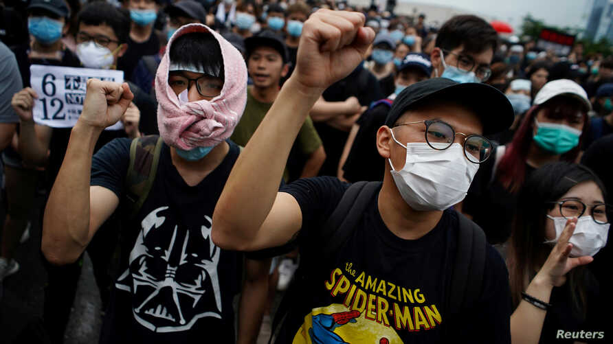 Protesters attend a demonstration demanding Hong Kong's leader steps down and withdraws the extradition bill, in Hong Kong, June 17, 2019.