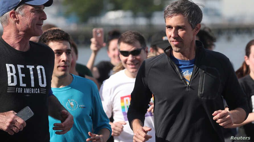 Democratic 2020 U.S. presidential candidate Beto O'Rourke jogs a 2 mile run with members of the LGBTQ community along the Hudson River Greenway in New York City