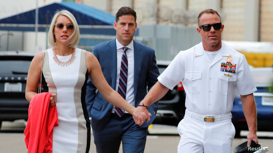U.S. Navy SEAL Special Operations Chief Edward Gallagher arrives at court for the start of his court-martial trial at Naval Base San Diego in San Diego,  June 18, 2019.