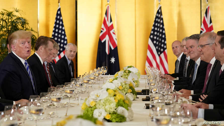 U.S. President Donald Trump attends a bilateral dinner with the Prime Minister of Australia Scott Morrison, ahead of the G20 summit in Osaka, Japan June 27, 2019.