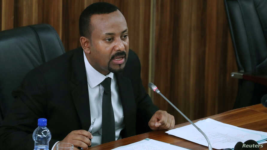 Ethiopia's Prime Minister Abiy Ahmed addresses the legislators on the current situation of the country inside the Parliament buildings in Addis Ababa, Ethiopia, July 1, 2019.
