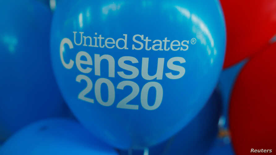 FILE PHOTO: Balloons decorate an event for community activists and local government leaders to mark the one-year-out launch of the 2020 Census efforts in Boston