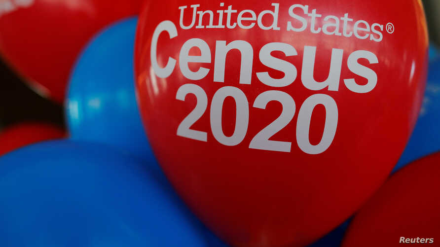 FILE PHOTO: Balloons decorate an event for community activists and local government leaders to mark the one-year-out launch of the 2020 Census efforts in Boston.