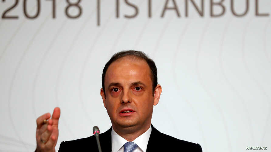 FILE - Turkey's central bank governor Murat Cetinkaya speaks during a news conference in Istanbul, Oct. 31, 2018.