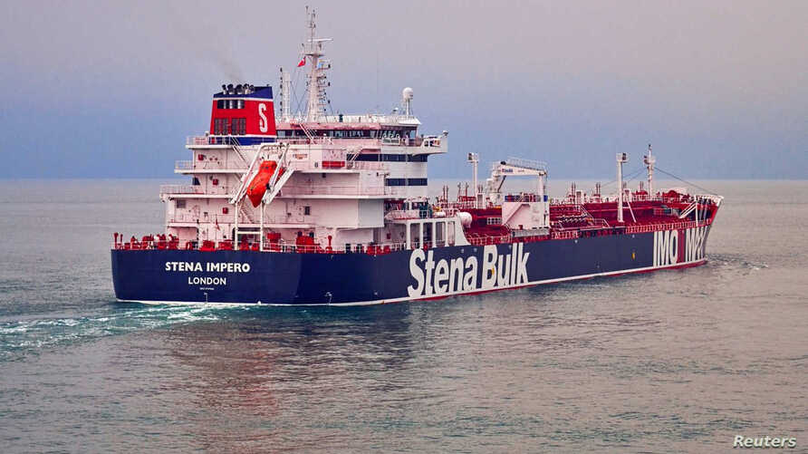 This undated handout photograph shows the Stena Impero, a British-flagged vessel owned by Stena Bulk, at an undisclosed location, obtained by Reuters, July 19, 2019.